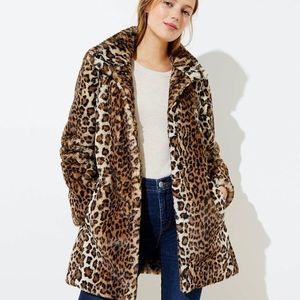 Loft Leopard Print Faux Fur Funnel Neck Coat